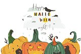 Hand drawn vector abstract cartoon Happy Halloween illustrations party posters and collection cards set with ravens,pumpkins and modern calligraphy Happy Halloween Night isolated on white background