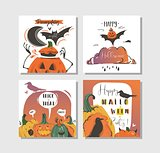 Hand drawn vector abstract cartoon Happy Halloween illustrations party posters and collection cards set with ravens,bats,pumpkins and modern calligraphy isolated on white background
