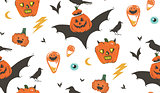Hand drawn vector abstract cartoon Happy Halloween illustrations seamless pattern with ravens,bats,pumpkins and modern calligraphy isolated on white background.