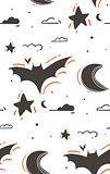 Hand drawn vector abstract cartoon Happy Halloween illustrations seamless pattern with bats,stars,moon,clouds isolated on white background