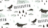 Hand drawn vector abstract cartoon Happy Halloween illustrations seamless pattern with ravens,crows,drops,clouds and modern calligraphy Happy Haloween isolated on white background