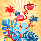 Bright tropical flamingo postcard