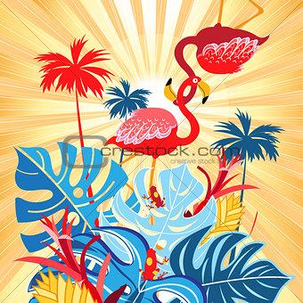 Bright tropical flamingo postcard