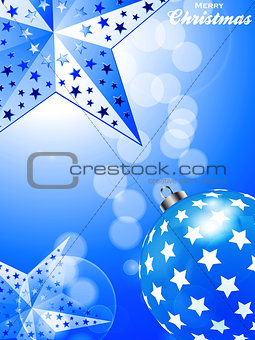 Blue Christmas Background with stars and bauble