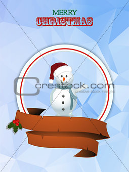 Christmas border with snowman and banner