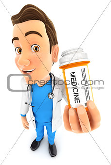 3d doctor holding medicine pills bottle