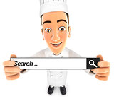 3d head chef holding a search bar