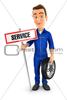 3d mechanic with service sign and wheel