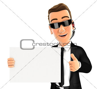 3d security agent holding placard with thumb up