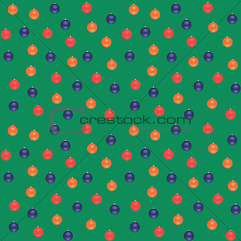 Blue, red, orange Christmas balls on a green background. Seamless vector pattern.