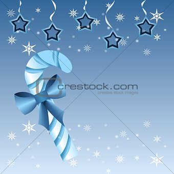 Blue Christmas candy cane