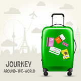 Suitcase with travel tags and european landmarks - tourism poste