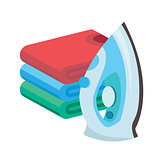 iron and linen vector. Ironing linen with steam generator. A stack of ironed tshirts lying next to the iron.