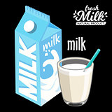 milk pack and glass of milkmilk pack and glass of milk icon flat style. Isolated on black background. Vector illustration