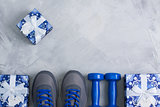 Holiday christmas birthday party sport flat lay composition