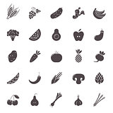 Fruit and Vegetables icon set. Vegan natural bio pictograms. Artichoke, asparagus, wheat, bananas, grapes, leeks, garlic, ginger and others organic food signs.