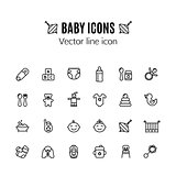 Baby care thin line icon set. Outline stroke feeding, game, bathing pictograms. Pin, car seat, highchair, baby monitor, baby food and other baby accessories