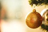 Fir branch with balls and festive lights