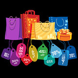 Sale. Bags and price tags