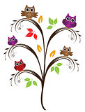 vector owl tree