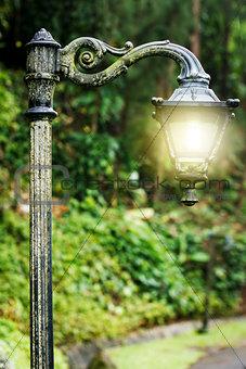 Beautiful vintage lantern with magic light