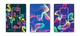 Fluid color covers set. Colorful bubble shapes with gradients. Trendy design.