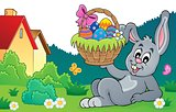 Bunny holding Easter basket theme 8