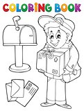 Coloring book mailman delivering box