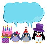 Party penguins with copyspace theme 1