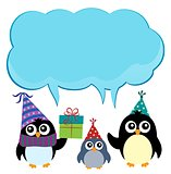 Party penguins with copyspace theme 3