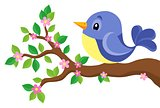 Stylized bird on spring branch theme 1
