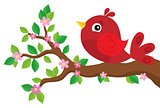 Stylized bird on spring branch theme 2
