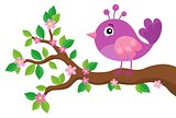 Stylized bird on spring branch theme 5