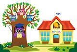 Tree and owls near school theme 1