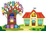Tree and owls near school theme 2