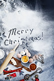 Merry Christmas Written in Flour