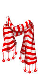 Red Striped Santa Claus Scarf. Christmas accessory
