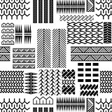 Black and white mayan embroidery seamless vector pattern.