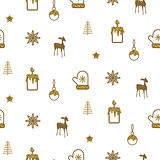 Gold and white new year simple icon vector holiday pattern.