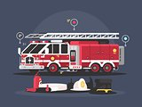 Fire truck and equipment for fire extinguishing