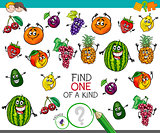 one of a kind activity with fruit characters