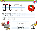 how to write letter T worksheet for kids