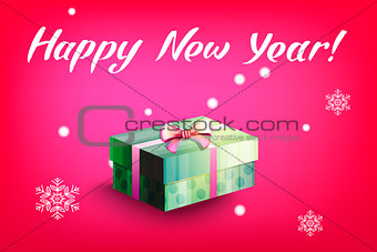 Card with gift box and letting Happy New Year. Bright red background and snowflakes. Vector illustration