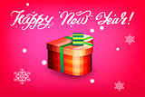 Card with gift box and letting Happy New Year. Bright red background and snowflakes. Vector illustration.