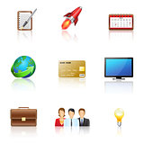 set business icons: people, the idea, computer, globe