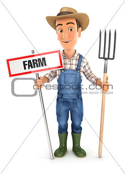 3d farmer with farm sign and fork