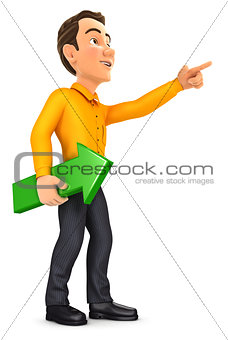 3d man holding green arrow and pointing direction