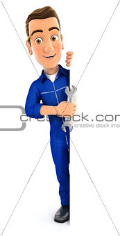 3d mechanic with wrench behind blank wall