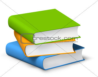 Three books on a pile 3D