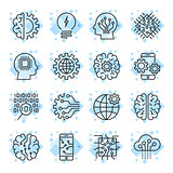 Icon set for artificial intelligence ai concept various symbols.